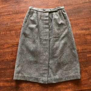 Vintage XS 0 Wool Midi Skirt A-Line Button Down